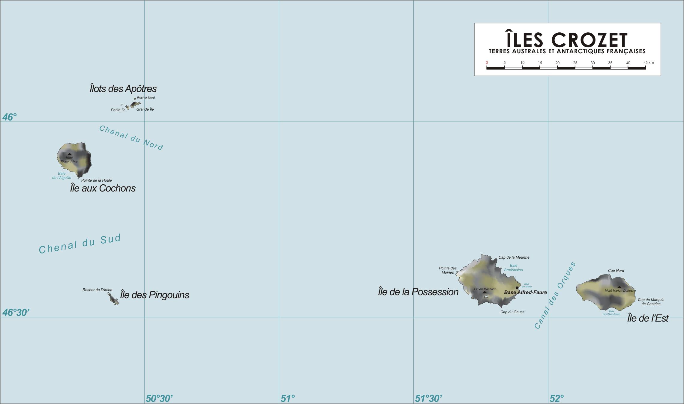 Mapa de las Islas Crozet