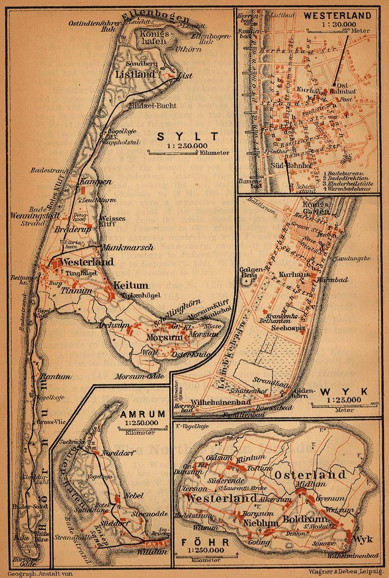 Mapa de las Islas Frisias Septentrionales (Sylt, Föhr, Amrum), Alemania 1910