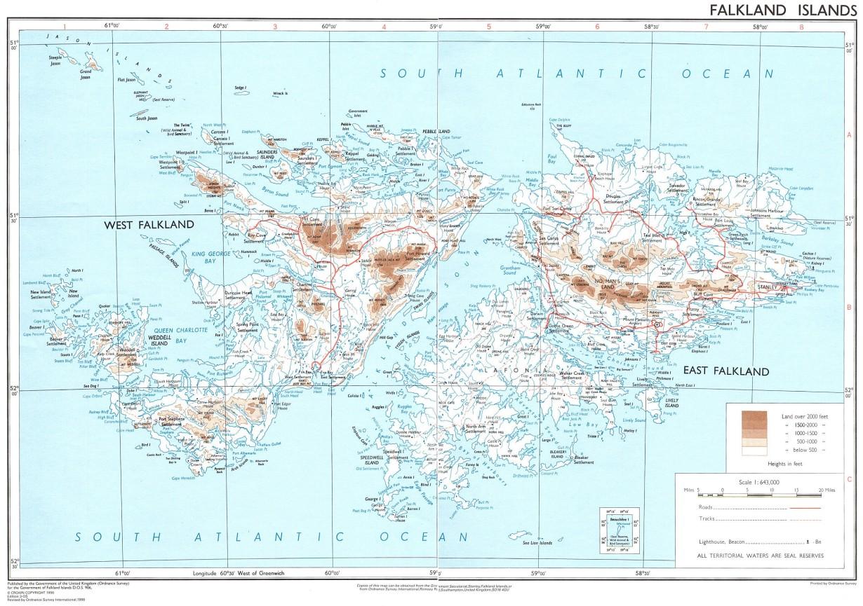 Mapa de las Islas Malvinas (Falkland Islands)