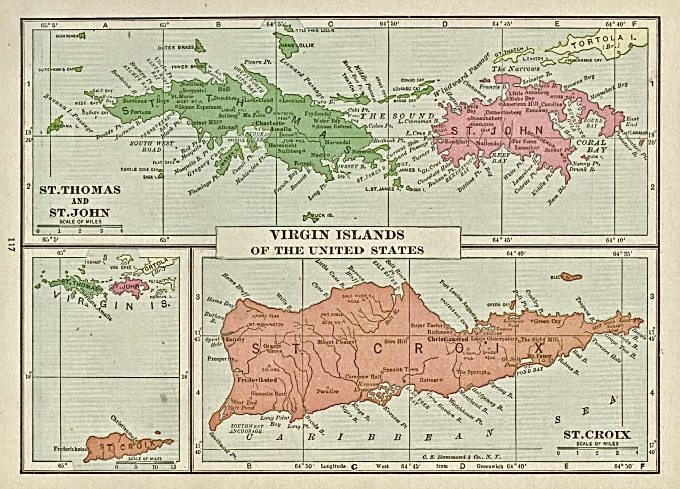 Mapa de las Islas Vírgenes 1920