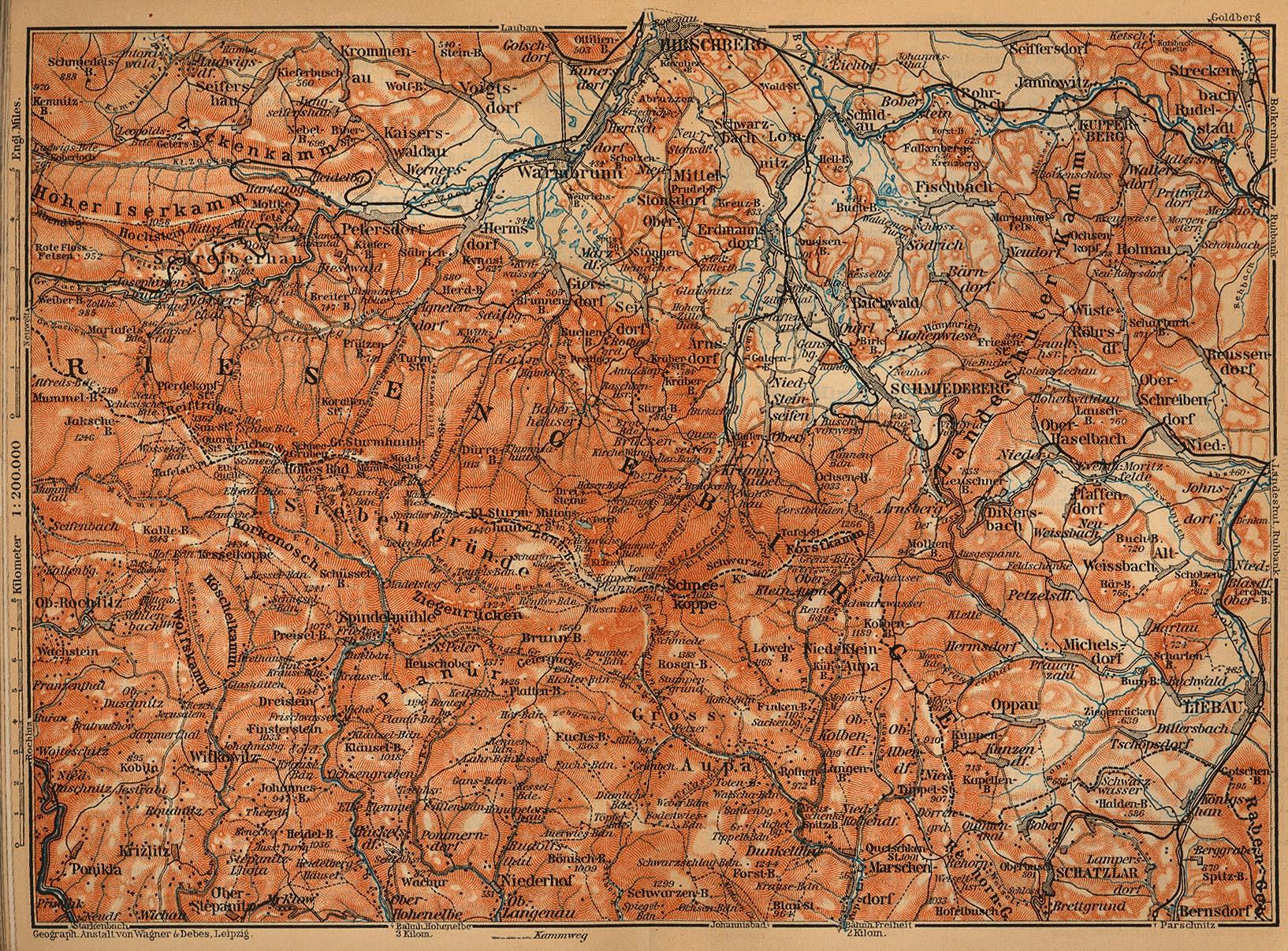 Mapa de las Karkonosze, Polonia - República Checa 1910