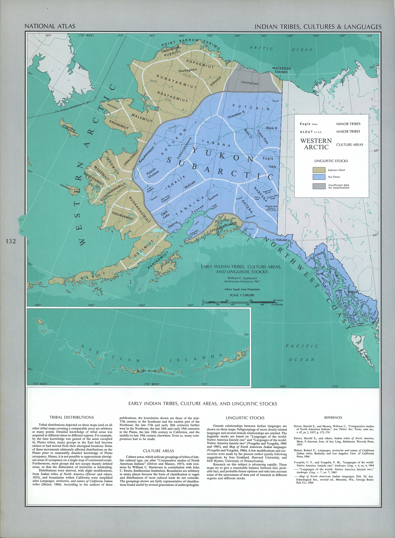 Mapa de las Lenguas y Culturas de las Tribus Indígenas de Alaska, Estados Unidos