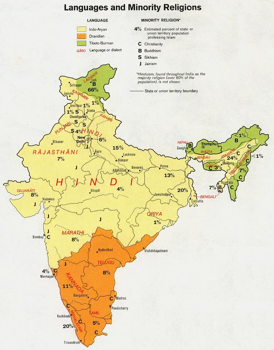 Mapa de las Lenguas y de las Religiones Minoritarias de India