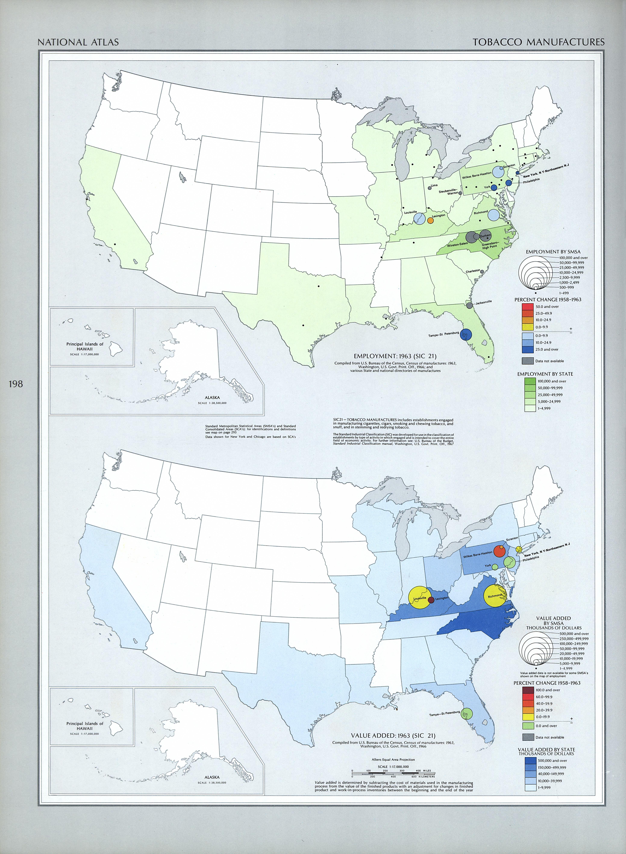 Mapa de las Manufacturas de la Industria Tabacalera en Estados Unidos