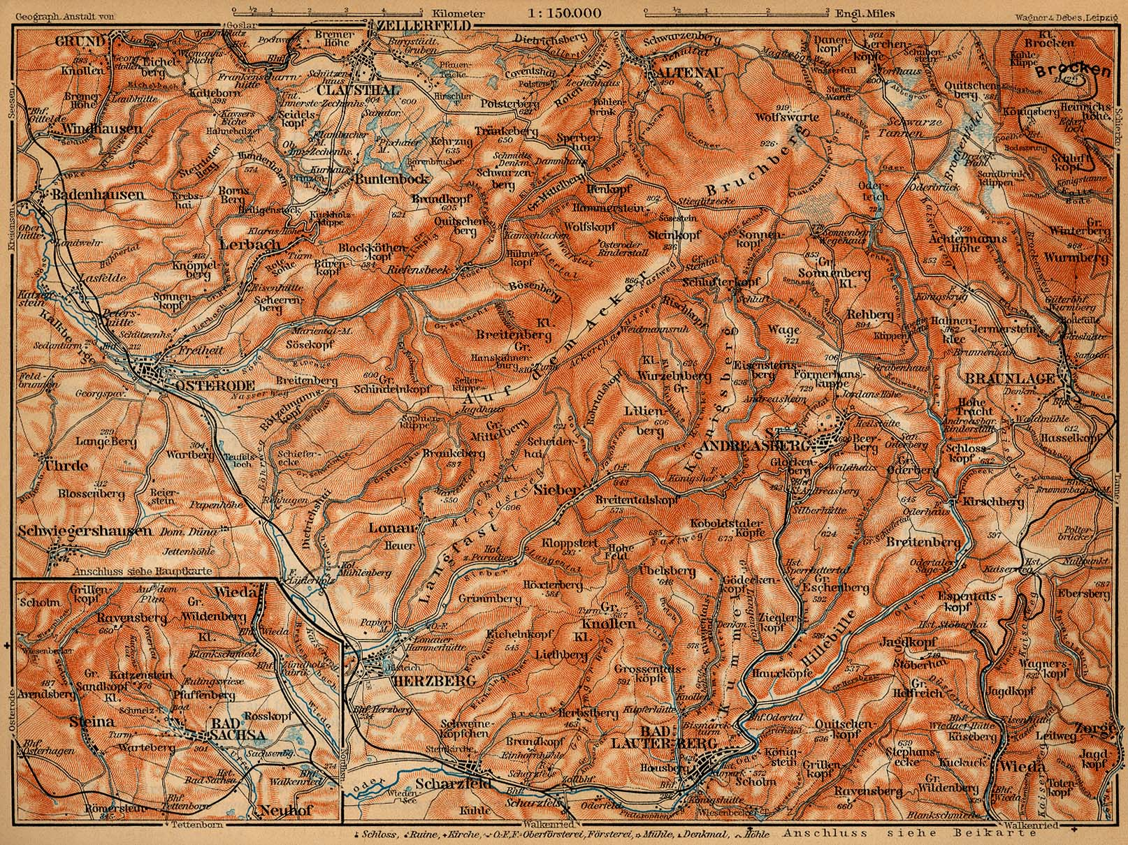 Map of Harz Mountains from Osterode to the Brocken, Germany 1910