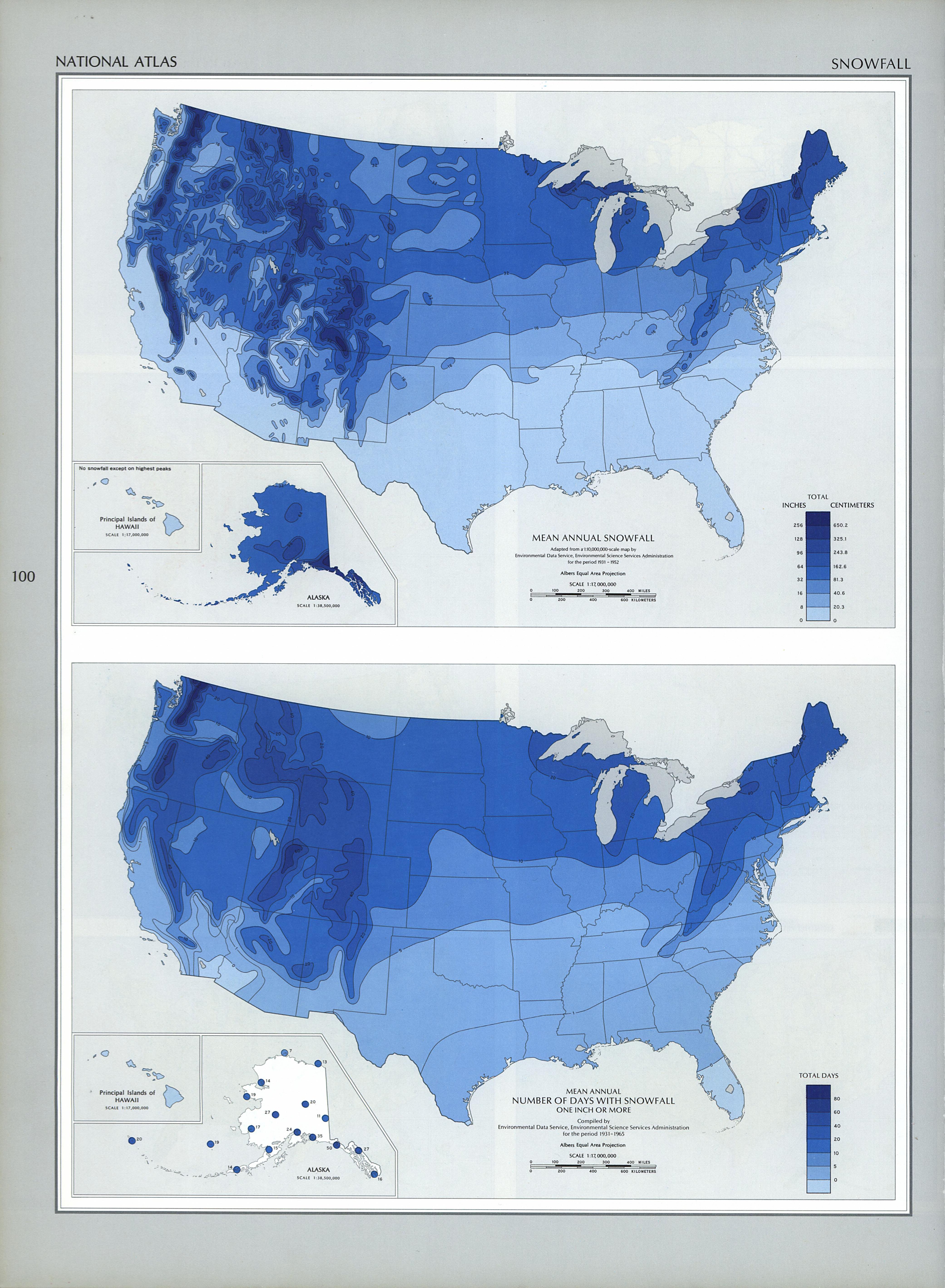 Mapa de las Nevadas en Estados Unidos
