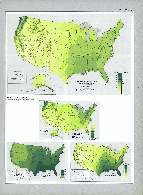 Mapa de las Precipitaciones, Estados Unidos