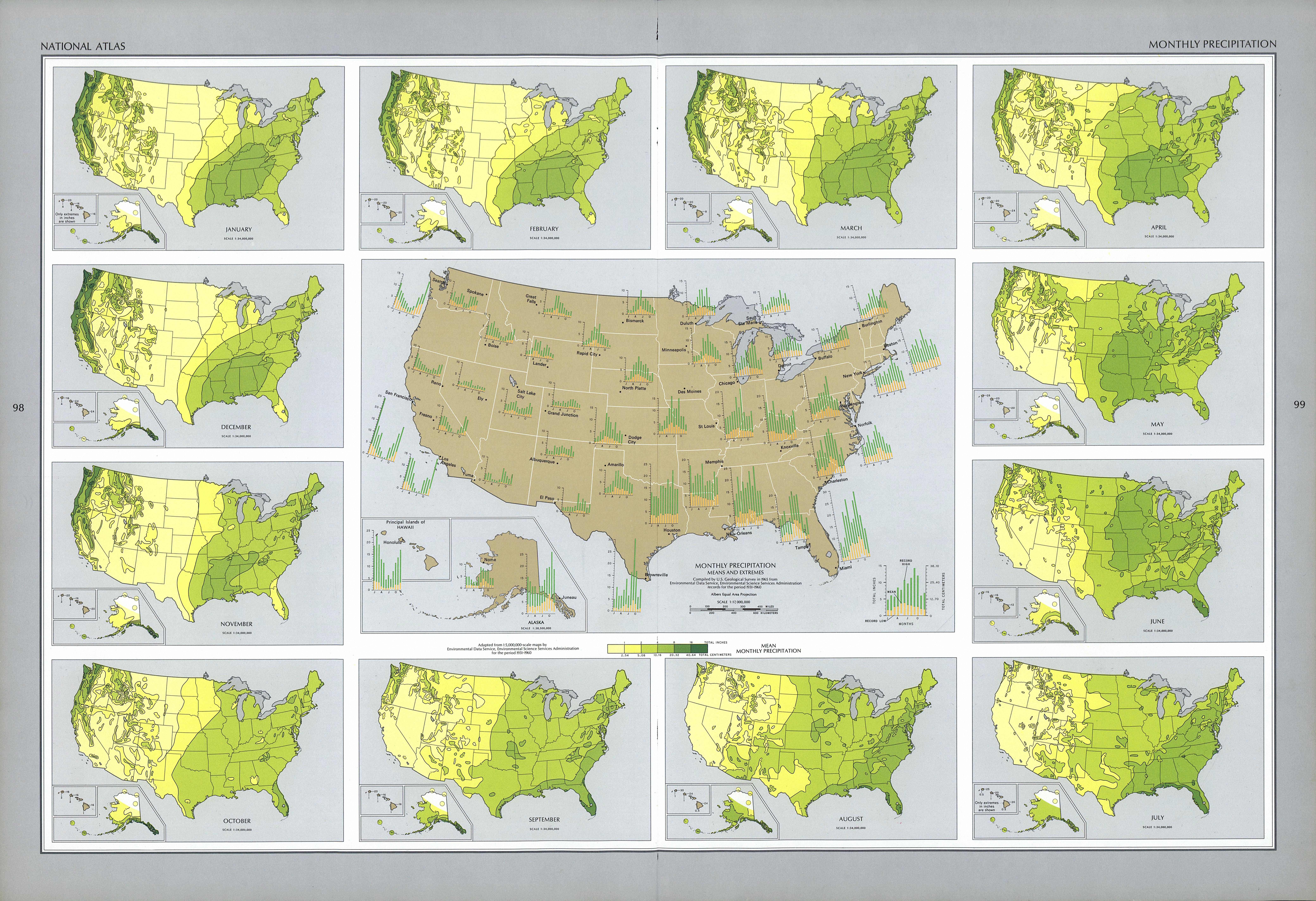 Maps of United States Monthly Precipitation Map - mapa.owje.com
