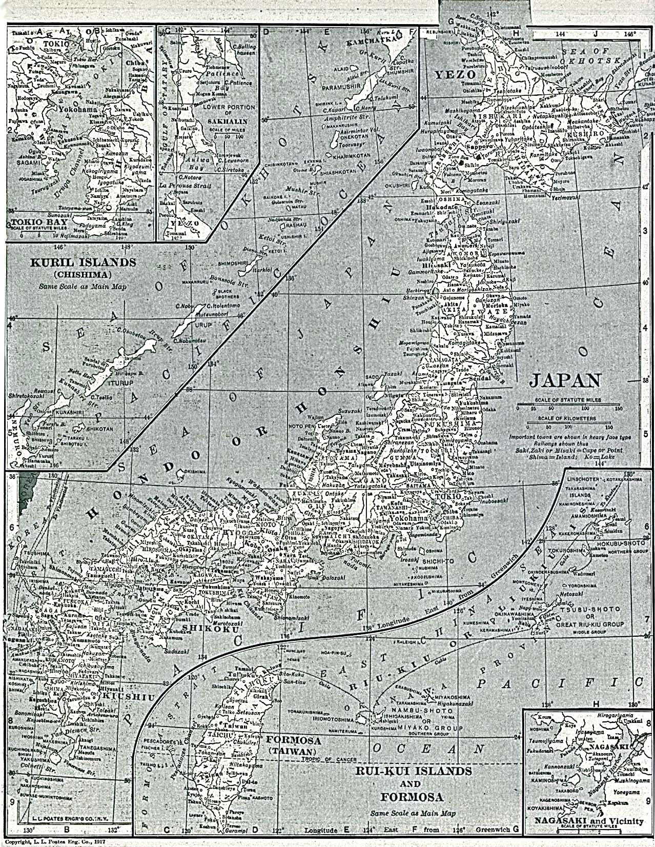 Map of the Principal Cities and Towns of Japan 1917