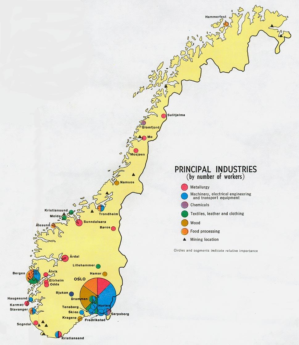 Mapa de las Principales Industrias de Noruega