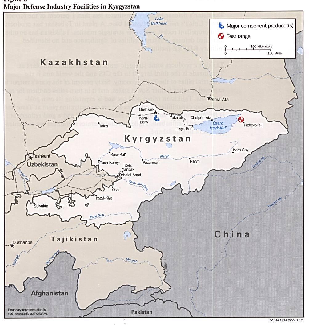 Kyrgyzstan Major Defense Industry Facilities Map