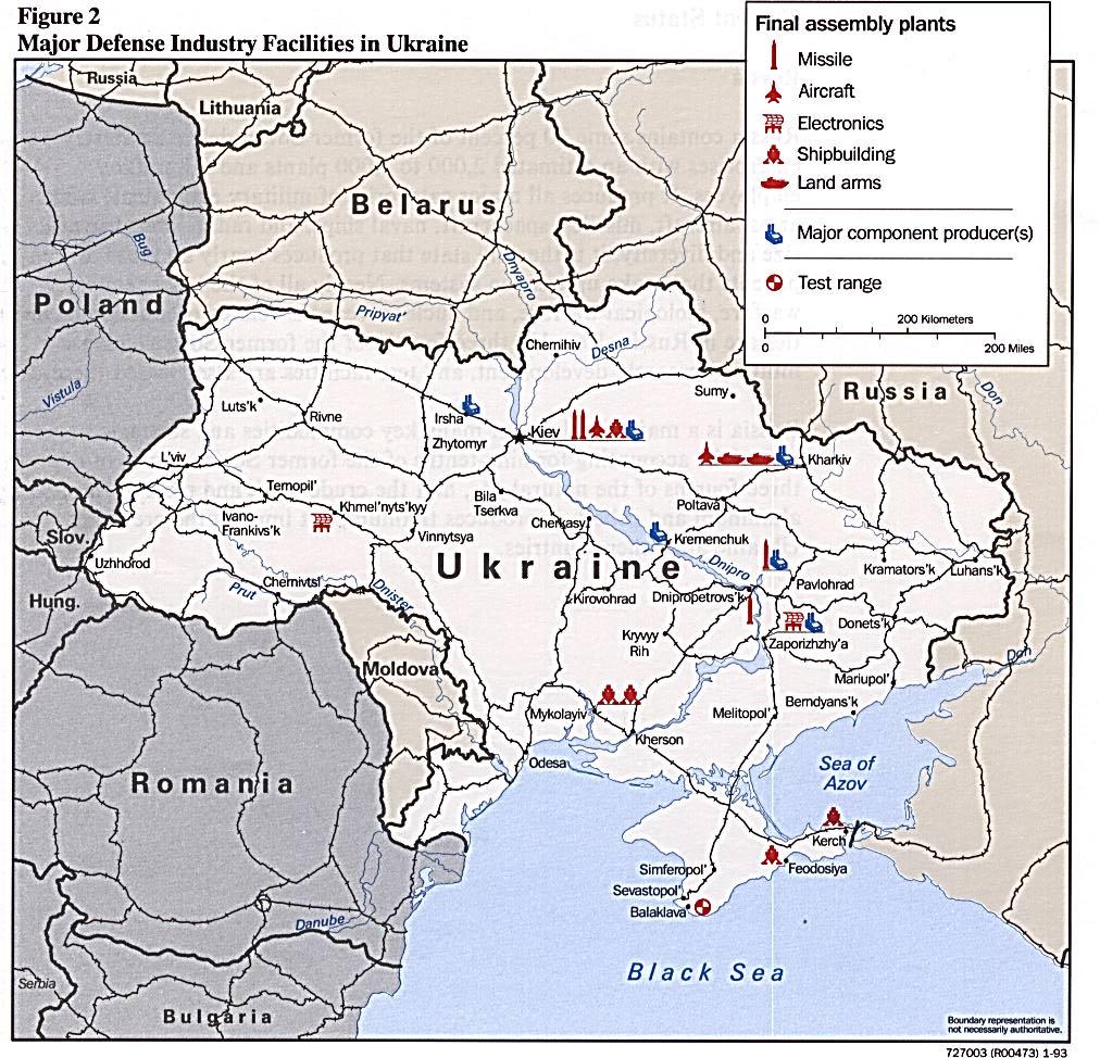 Mapa de las Principales Instalaciones de la Industria de Defensa de Ucrania