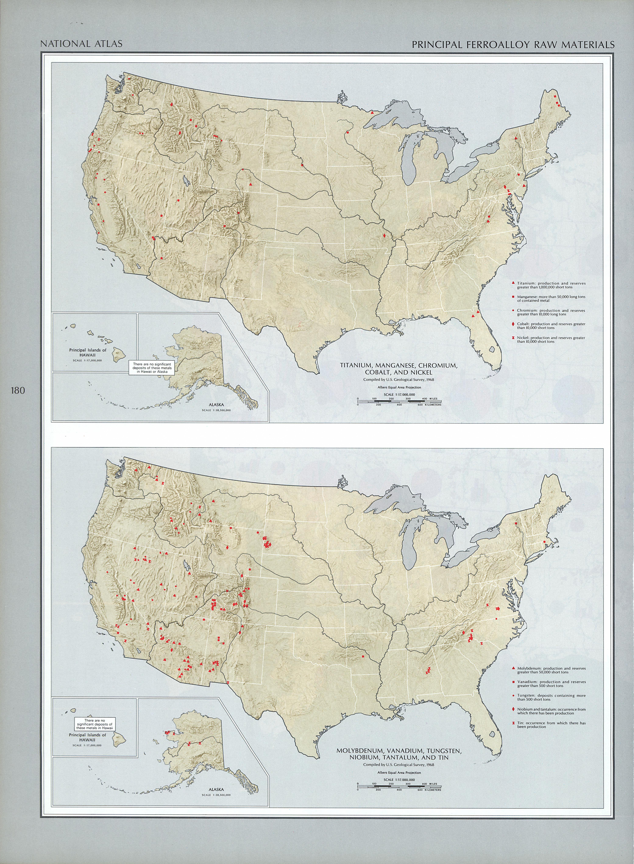 Mapa de las Principales Materias Primas Para Fabricar Aleaciones de Hierro, Estados Unidos