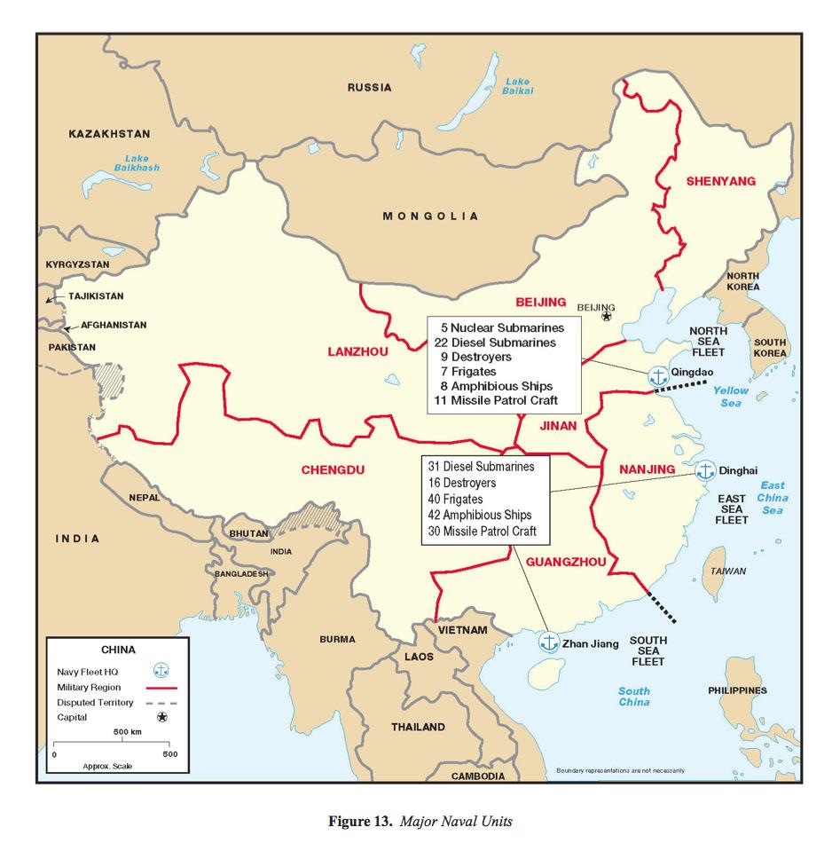 Mapa de las Principales Unidades Navales de China