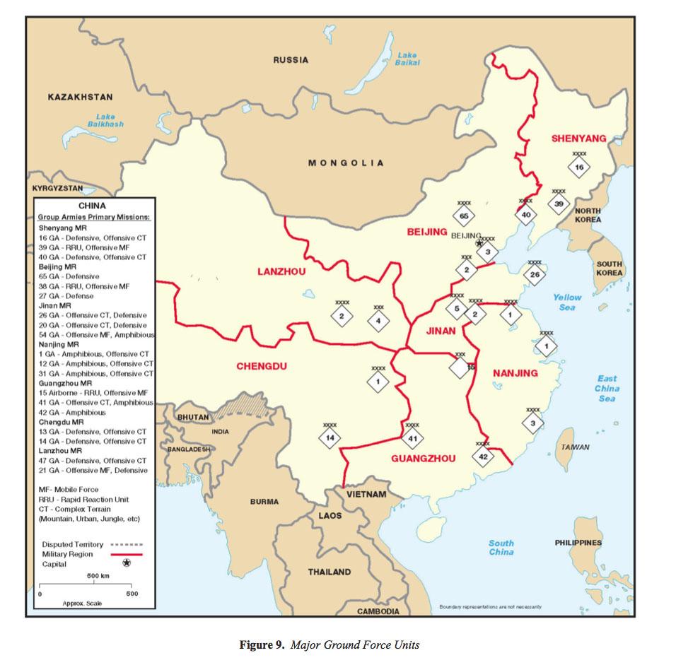 Mapa de las Principales Unidades de la Fuerza Terrestre de China