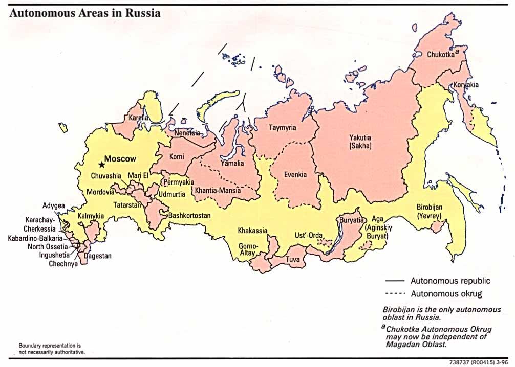 Mapa de las Regiones Autónomas en Rusia