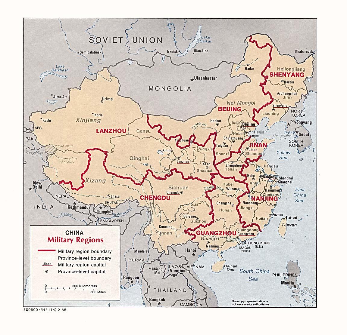 Mapa de las Regiones Militares de China