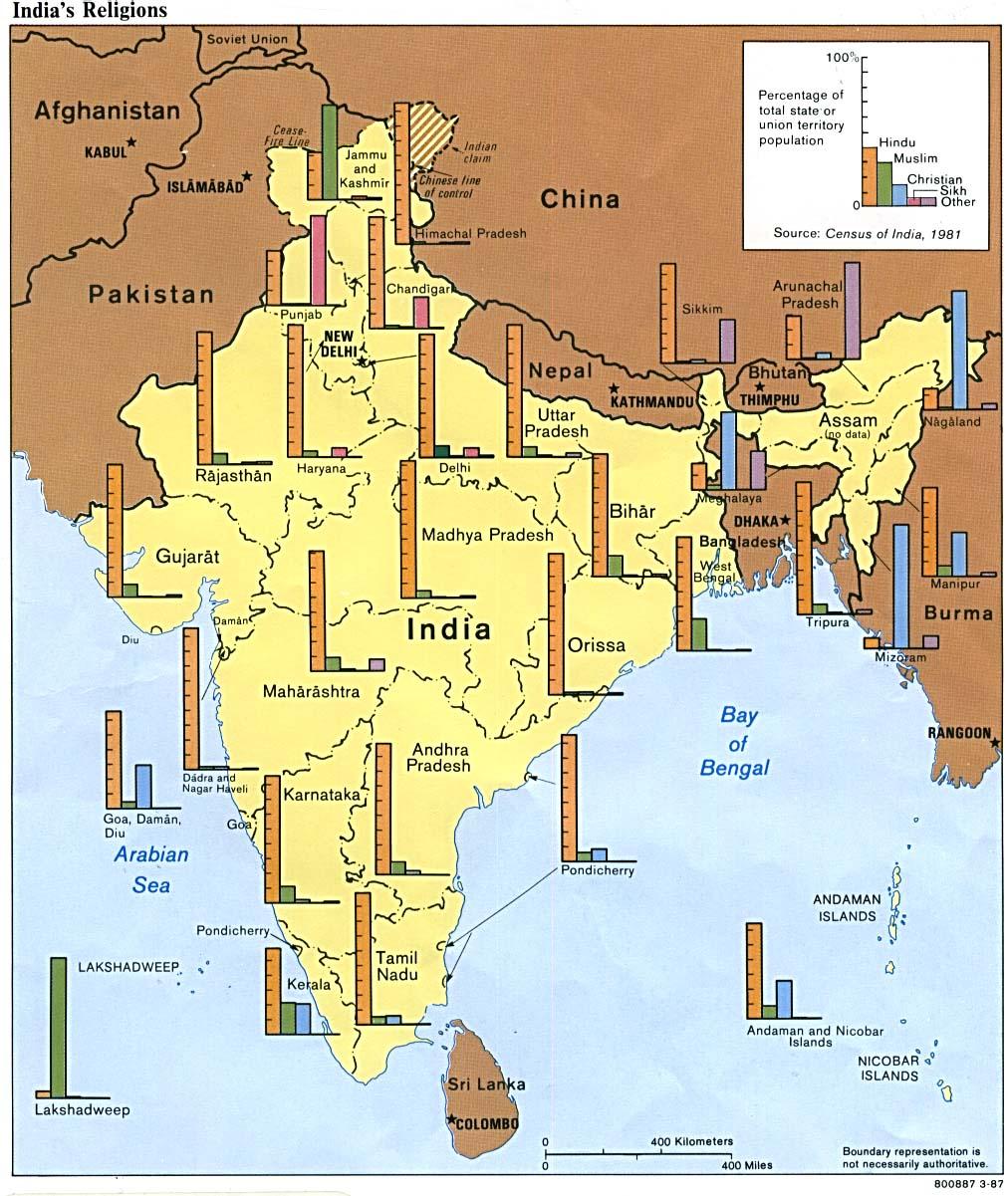 Mapa de las Religiones en India