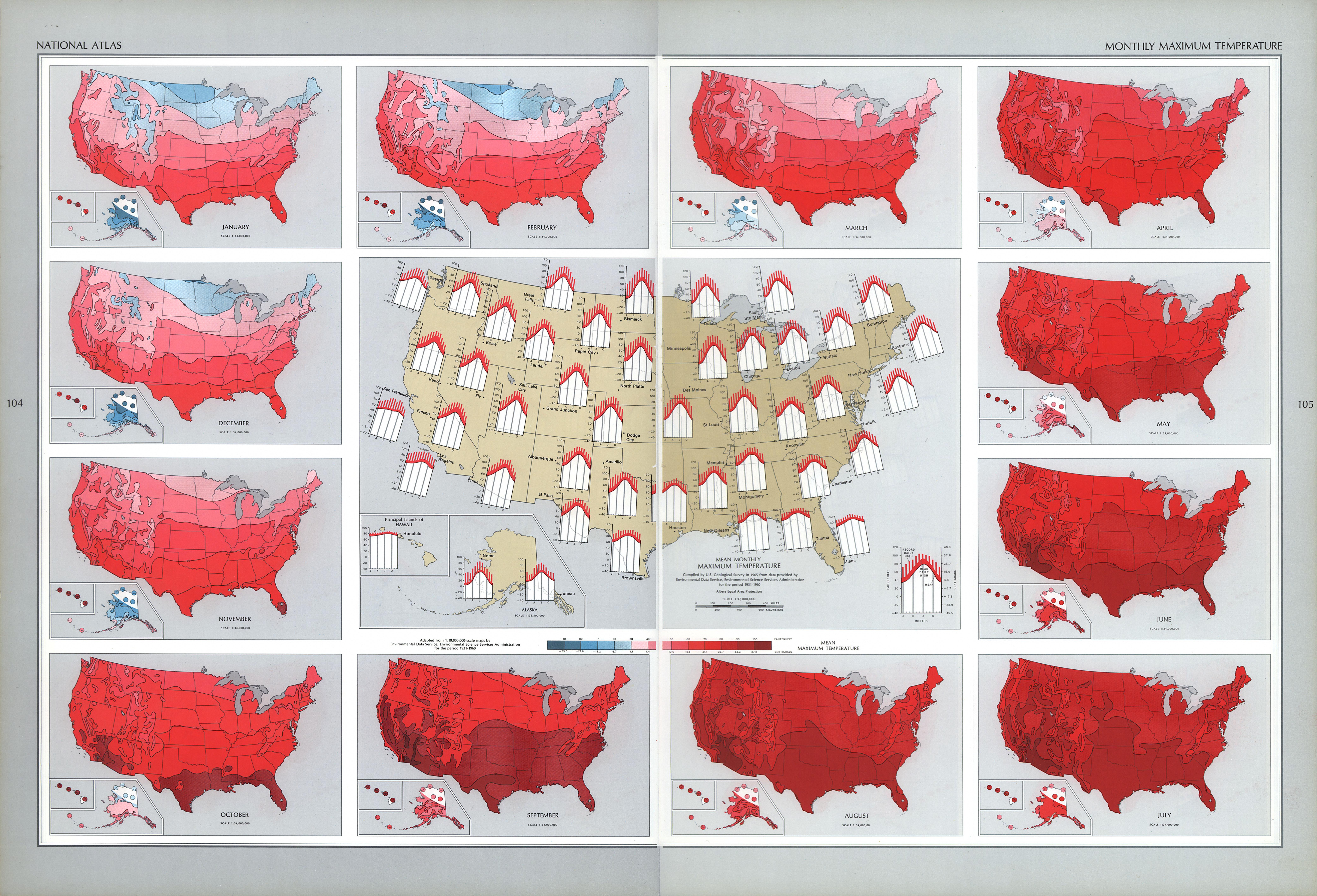 Mapa de las Temperaturas Máximas Mensuales en Estados Unidos