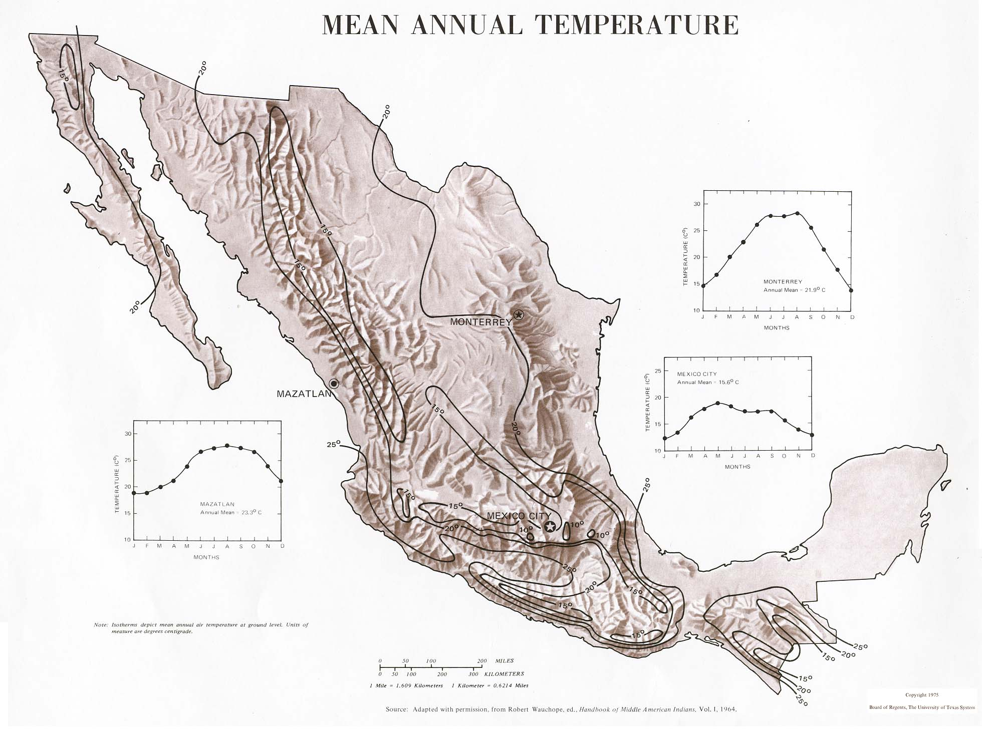 Mapa de las Temperaturas Medias Anuales, México