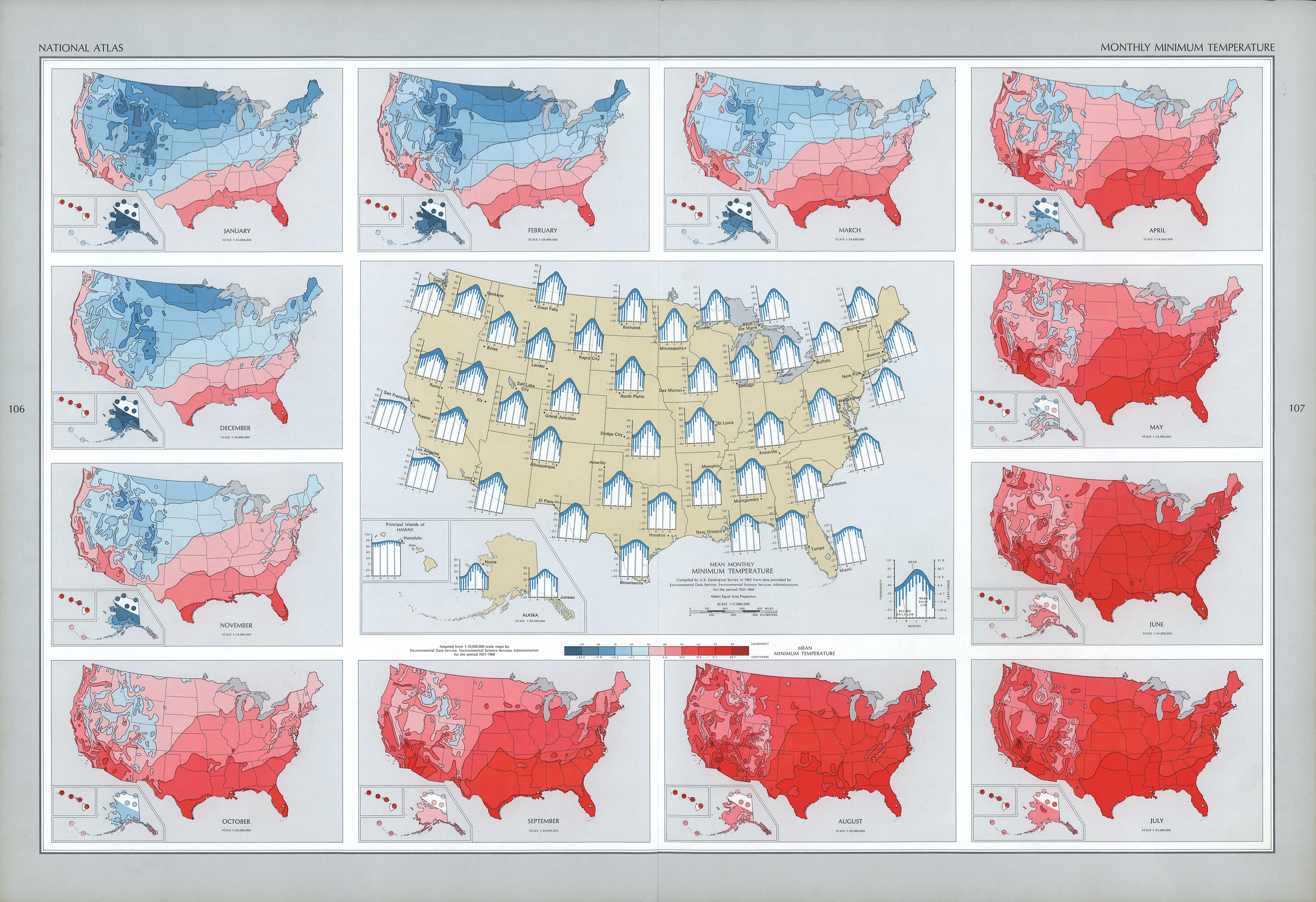 Mapa de las Temperaturas Mínimas Mensuales en Estados Unidos