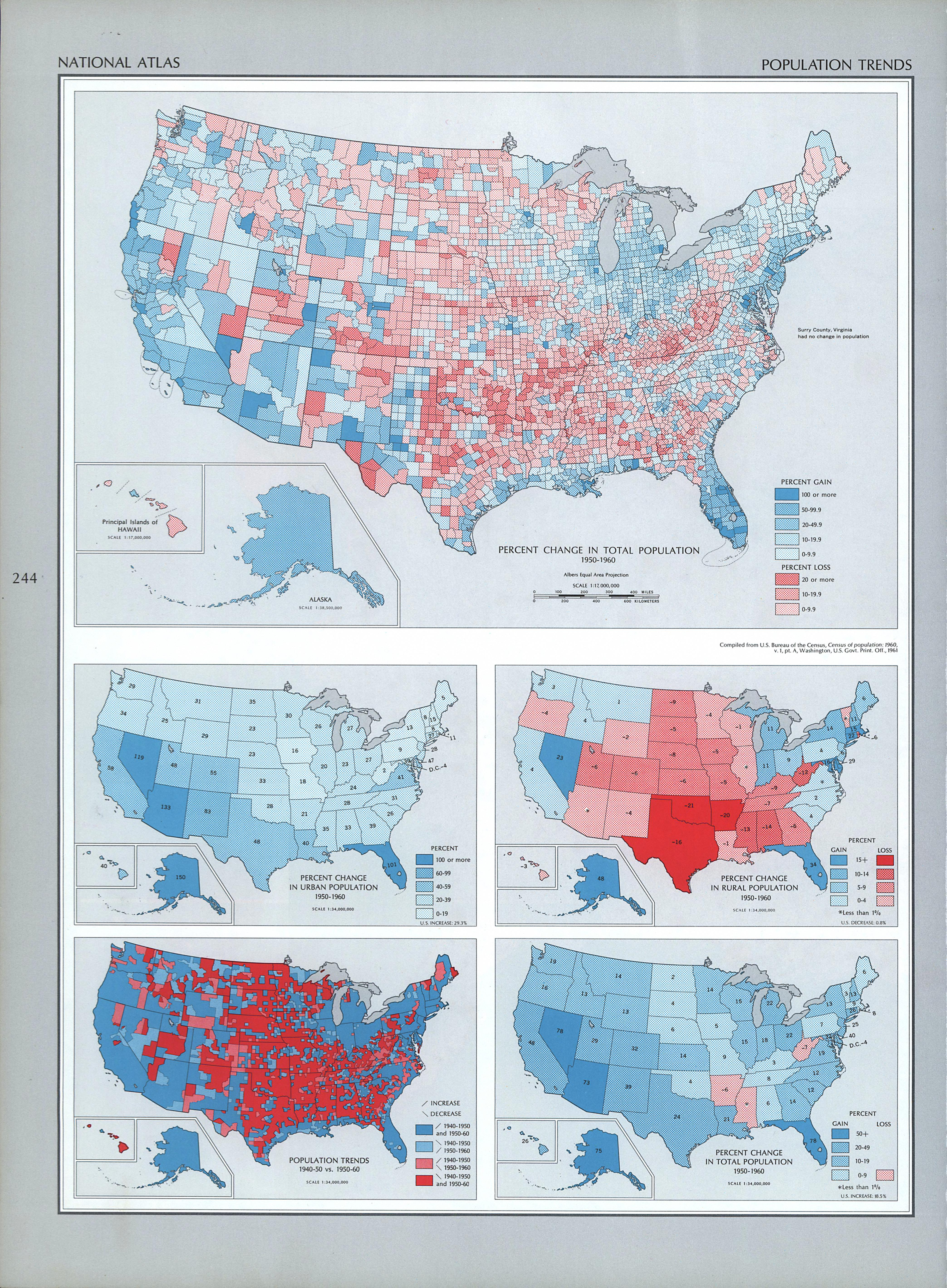 United States Population Trends Map