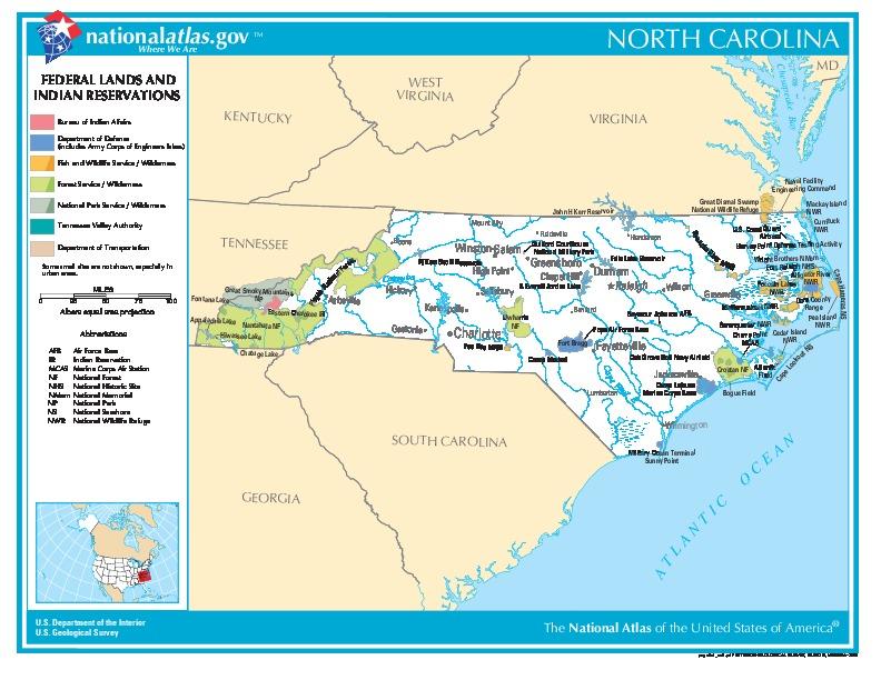 Mapa de las Tierras Federales y de las Reservas Indigenas, Carolina del Norte, Estados Unidos