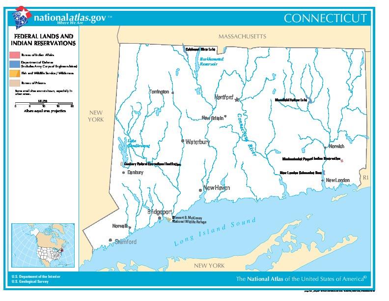 Mapa de las Tierras Federales y de las Reservas Indigenas, Connecticut, Estados Unidos