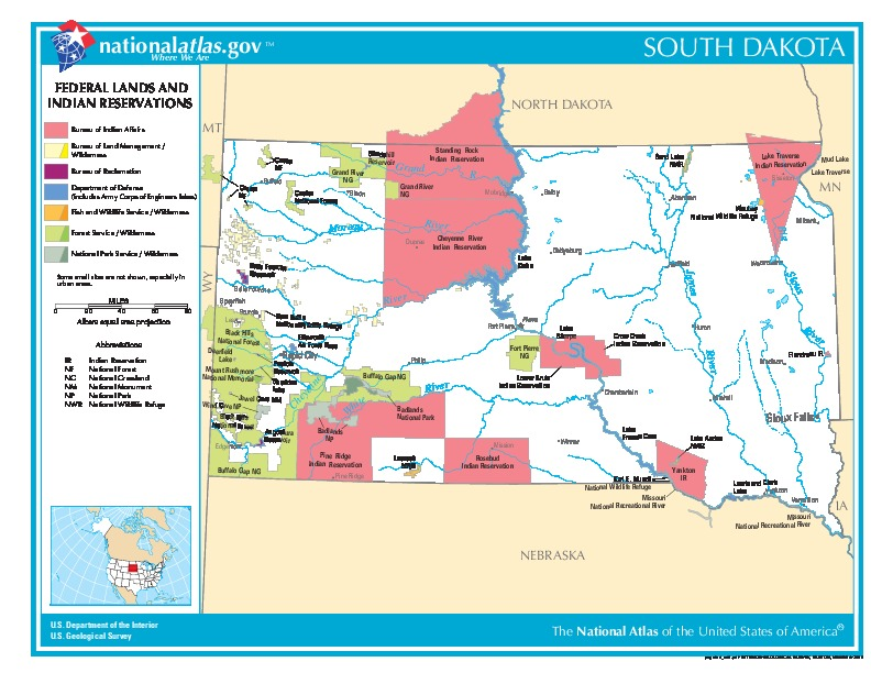 South Dakota Federal Lands and Indian Reservations Map, United States