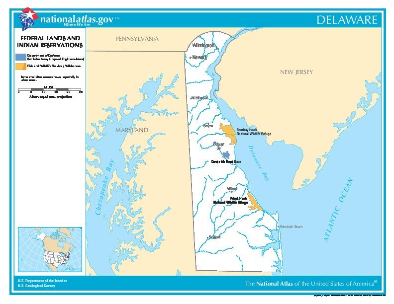 Mapa de las Tierras Federales y de las Reservas Indigenas, Delaware, Delaware, Estados Unidos
