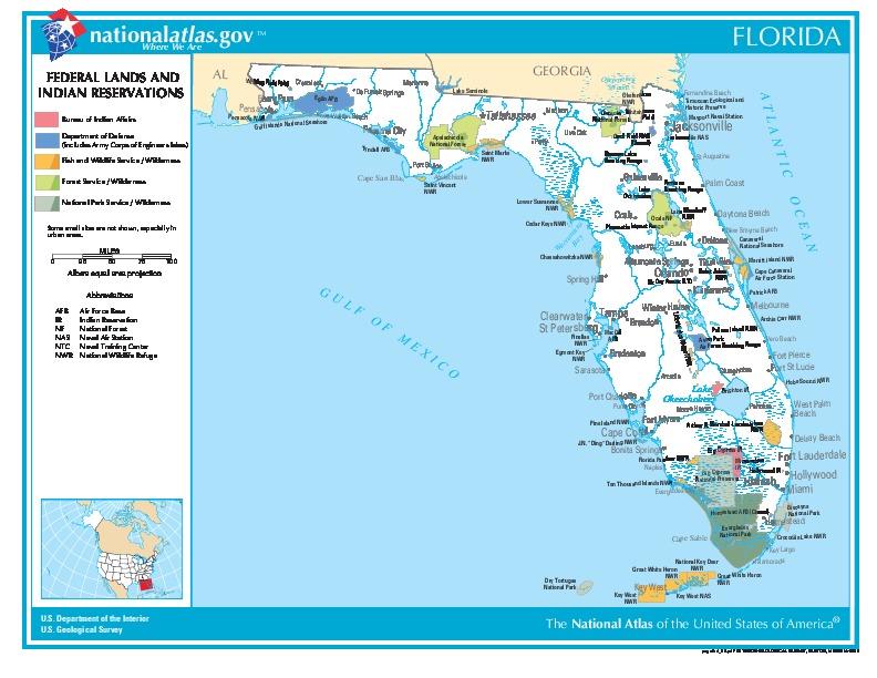 Mapa de las Tierras Federales y de las Reservas Indigenas, Florida, Estados Unidos
