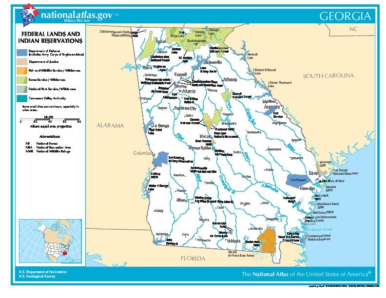 Mapa de las Tierras Federales y de las Reservas Indigenas, Georgia, Estados Unidos