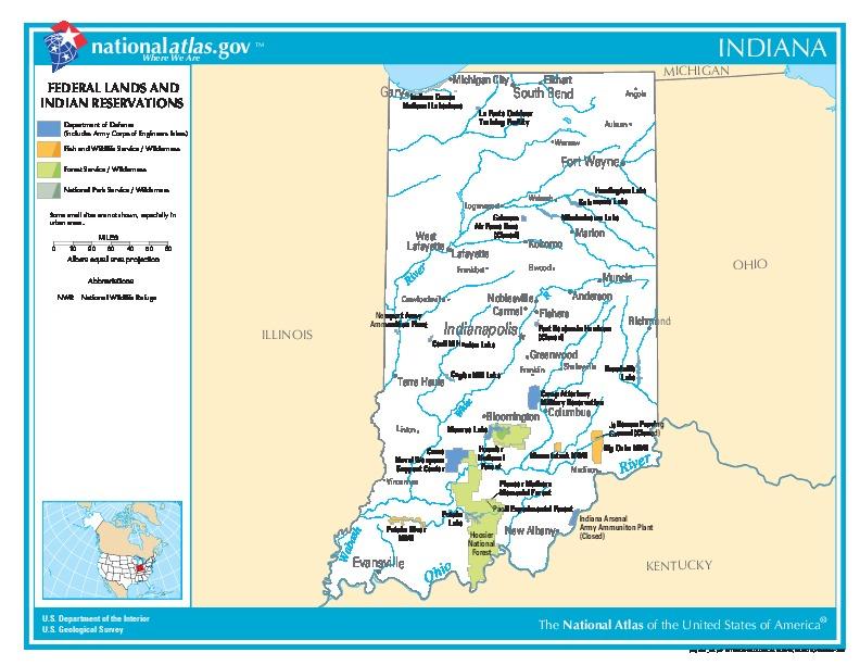 Mapa de las Tierras Federales y de las Reservas Indigenas, Indiana, Estados Unidos