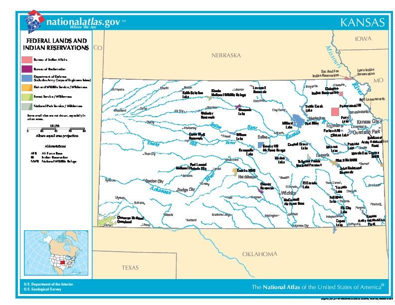 Mapa de las Tierras Federales y de las Reservas Indigenas, Kansas, Estados Unidos