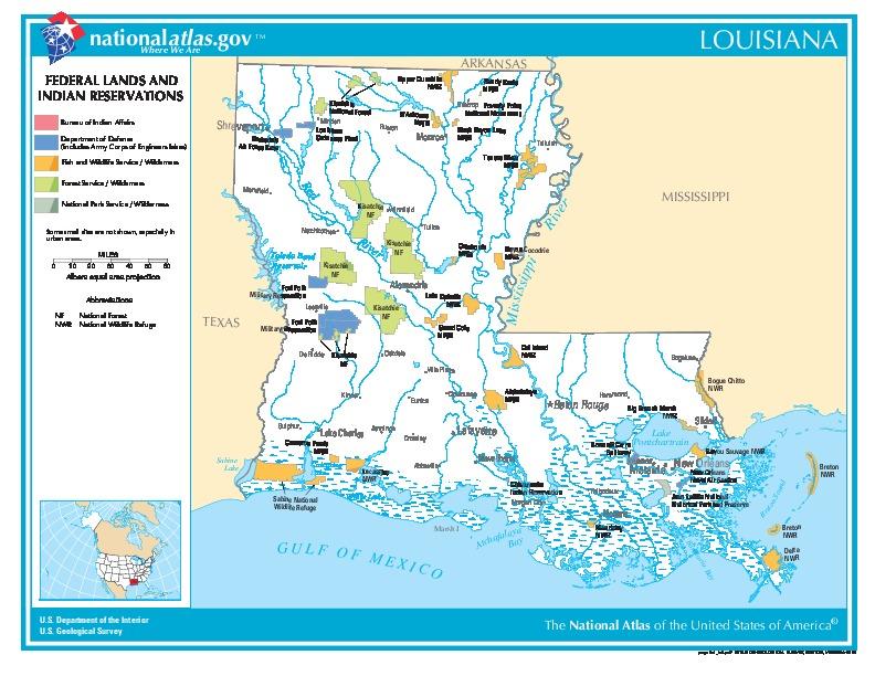 Mapa de las Tierras Federales y de las Reservas Indigenas, Luisiana, Estados Unidos