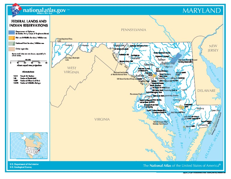 Maryland Federal Lands and Indian Reservations Map, United States