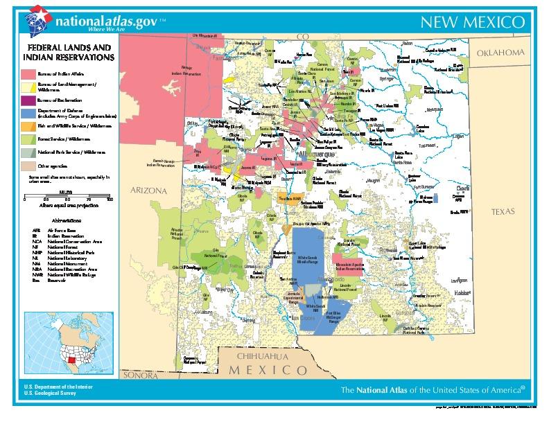 Mapa de las Tierras Federales y de las Reservas Indigenas, Nuevo México, Estados Unidos