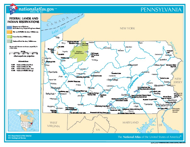 Pennsylvania Federal Lands and Indian Reservations Map, United States