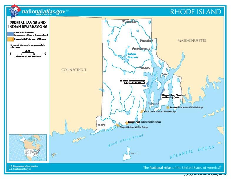 Mapa de las Tierras Federales y de las Reservas Indigenas, Rhode Island, Estados Unidos