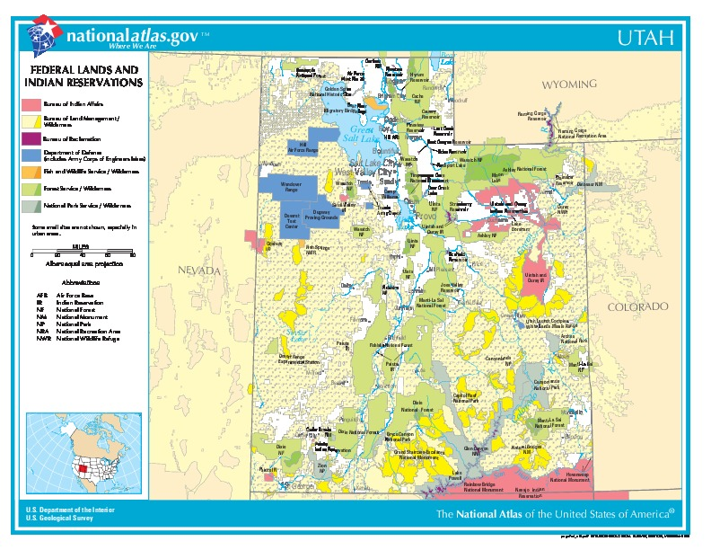 Utah Federal Lands and Indian Reservations Map, United States