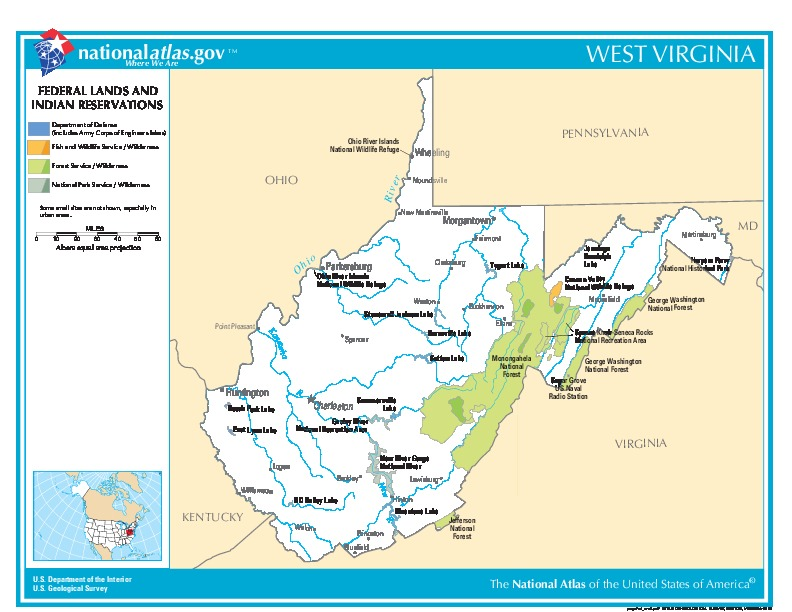 West Virginia Federal Lands and Indian Reservations Map, United States