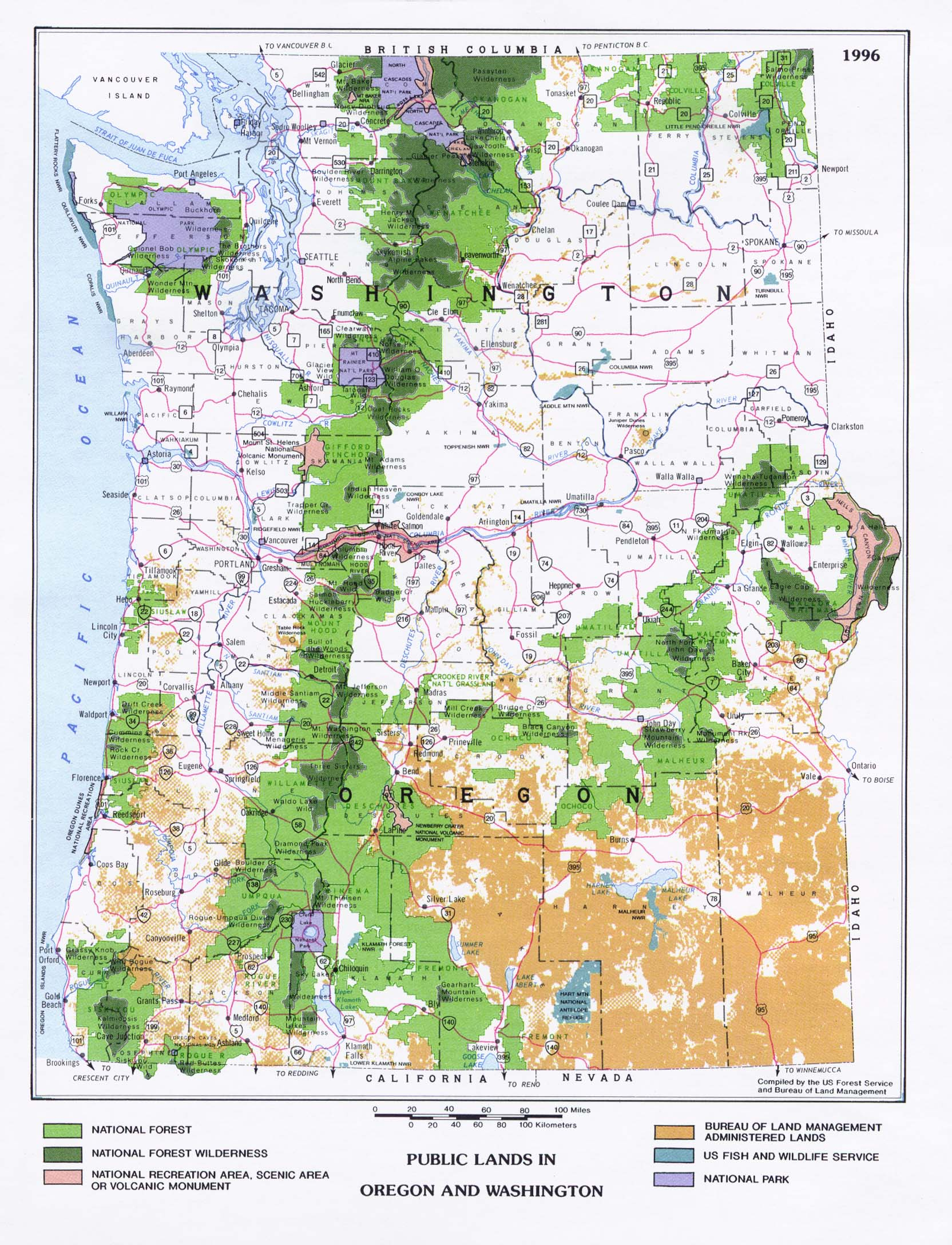 Mapa de las Tierras Públicas en Oregón y Washington, Estados Unidos