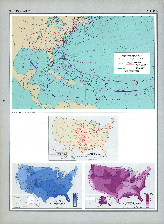 Mapa de las Tormentas y Huracanes en Estados Unidos