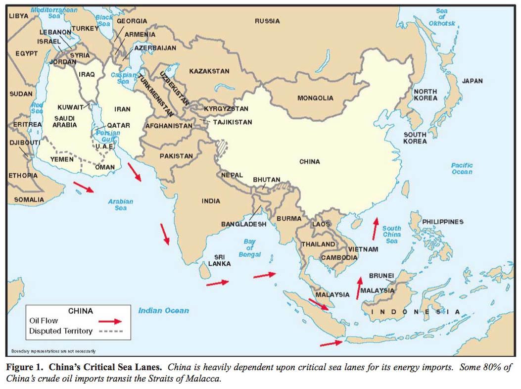 Mapa de las Vías Marítimas Vitales de China