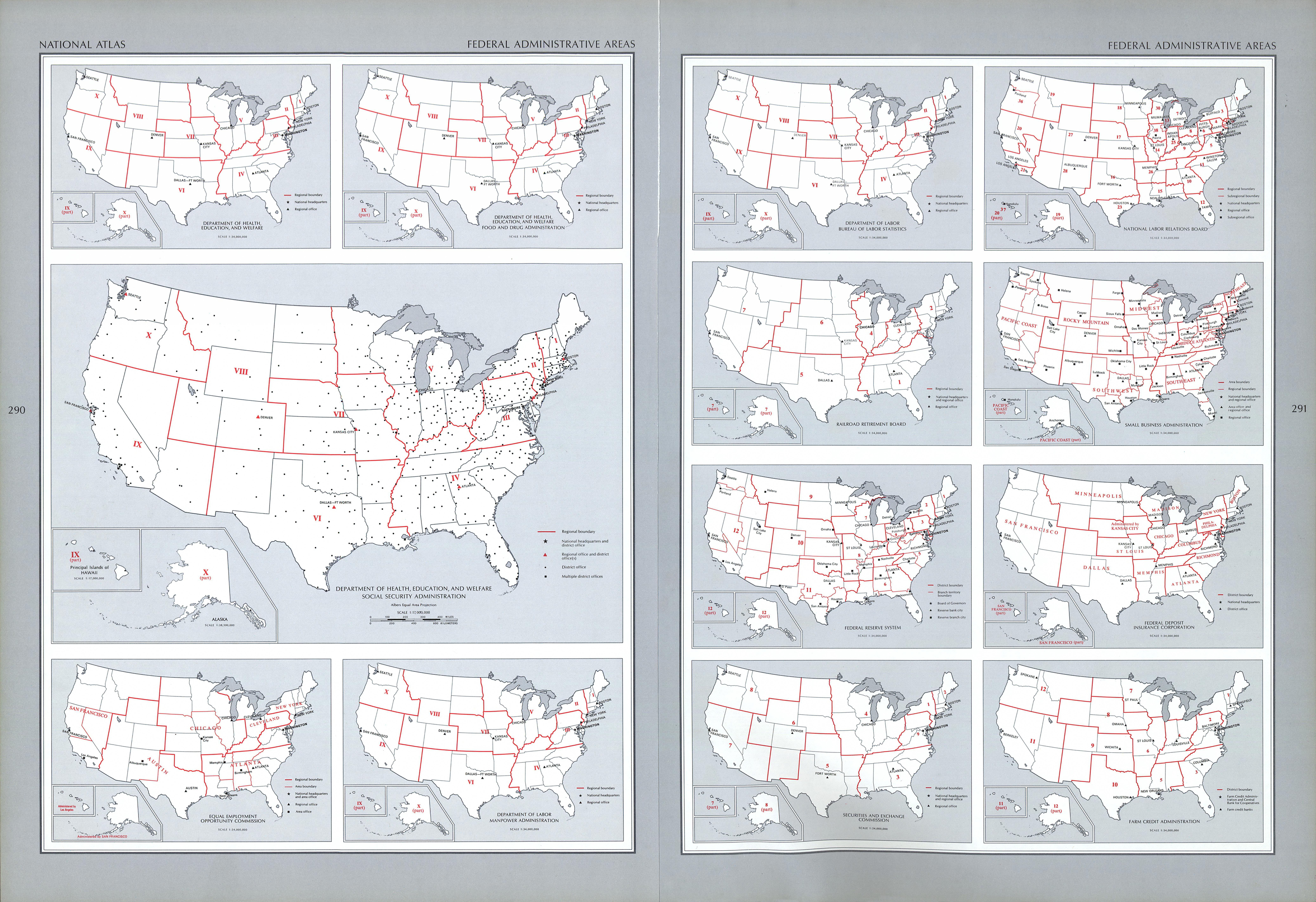 Mapa de las Zonas Administrativas Federal, Estados Unidos