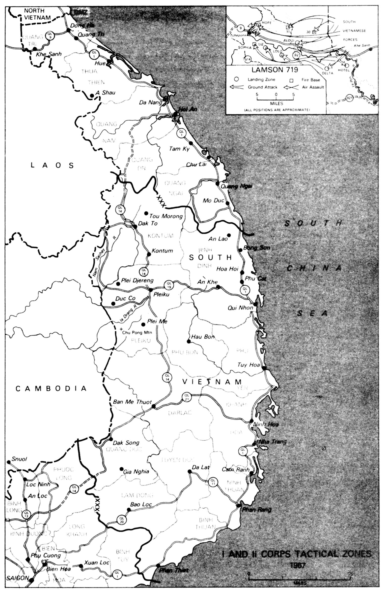 Map of the 1 and 2 Corps Tactical Zones, Southeast Asia 1967