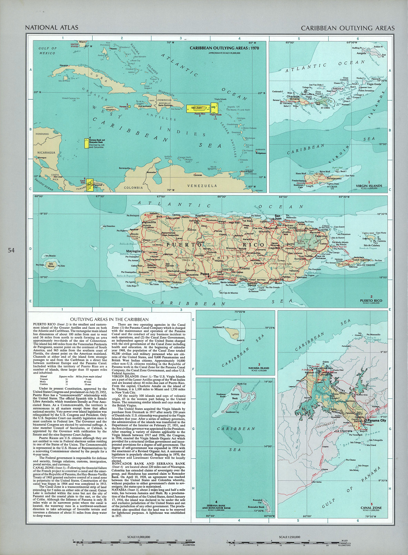 Mapa de las Áreas Periféricas Caribeñas, Estados Unidos