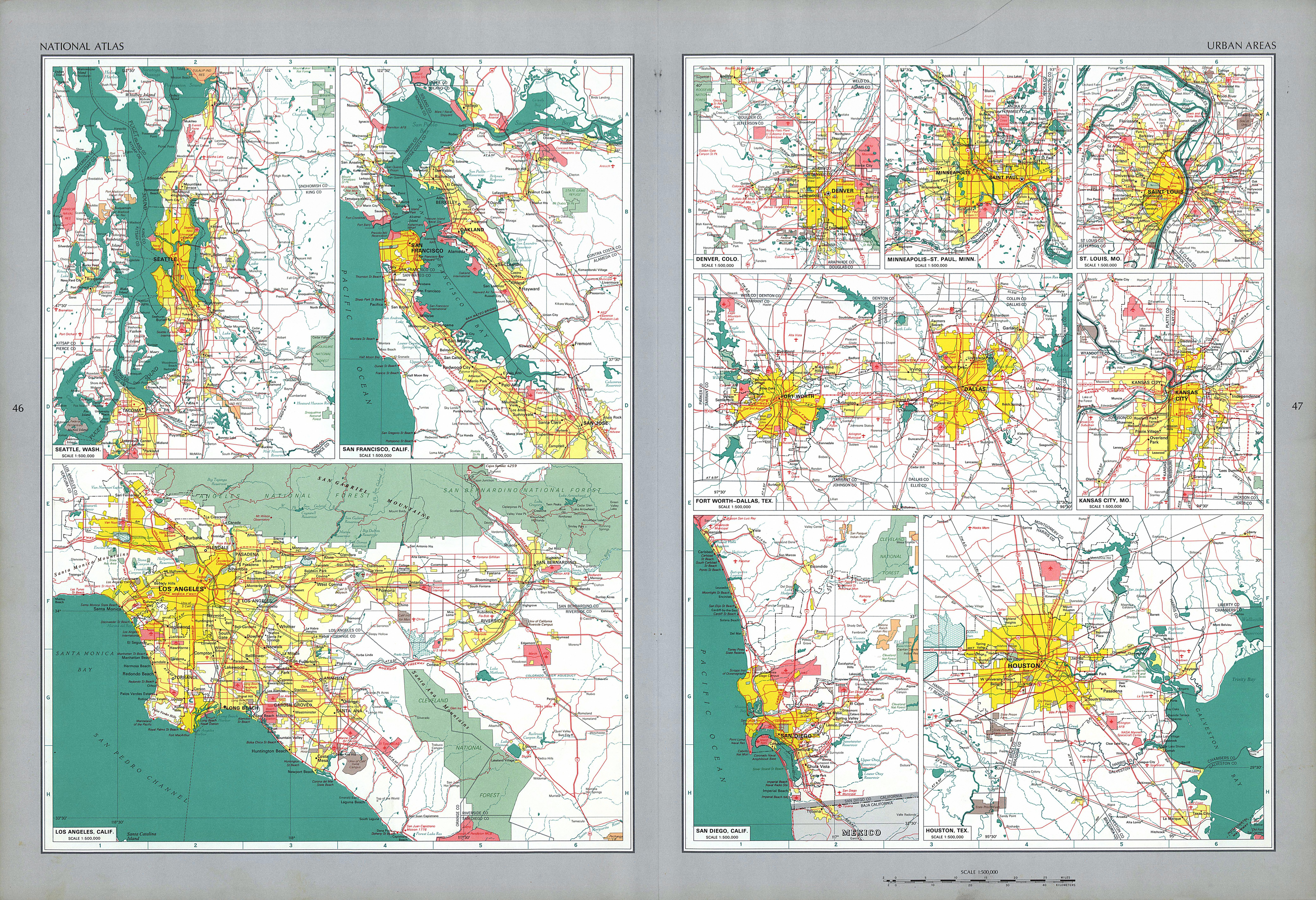Mapa de las Áreas Urbanas de Estados Unidos
