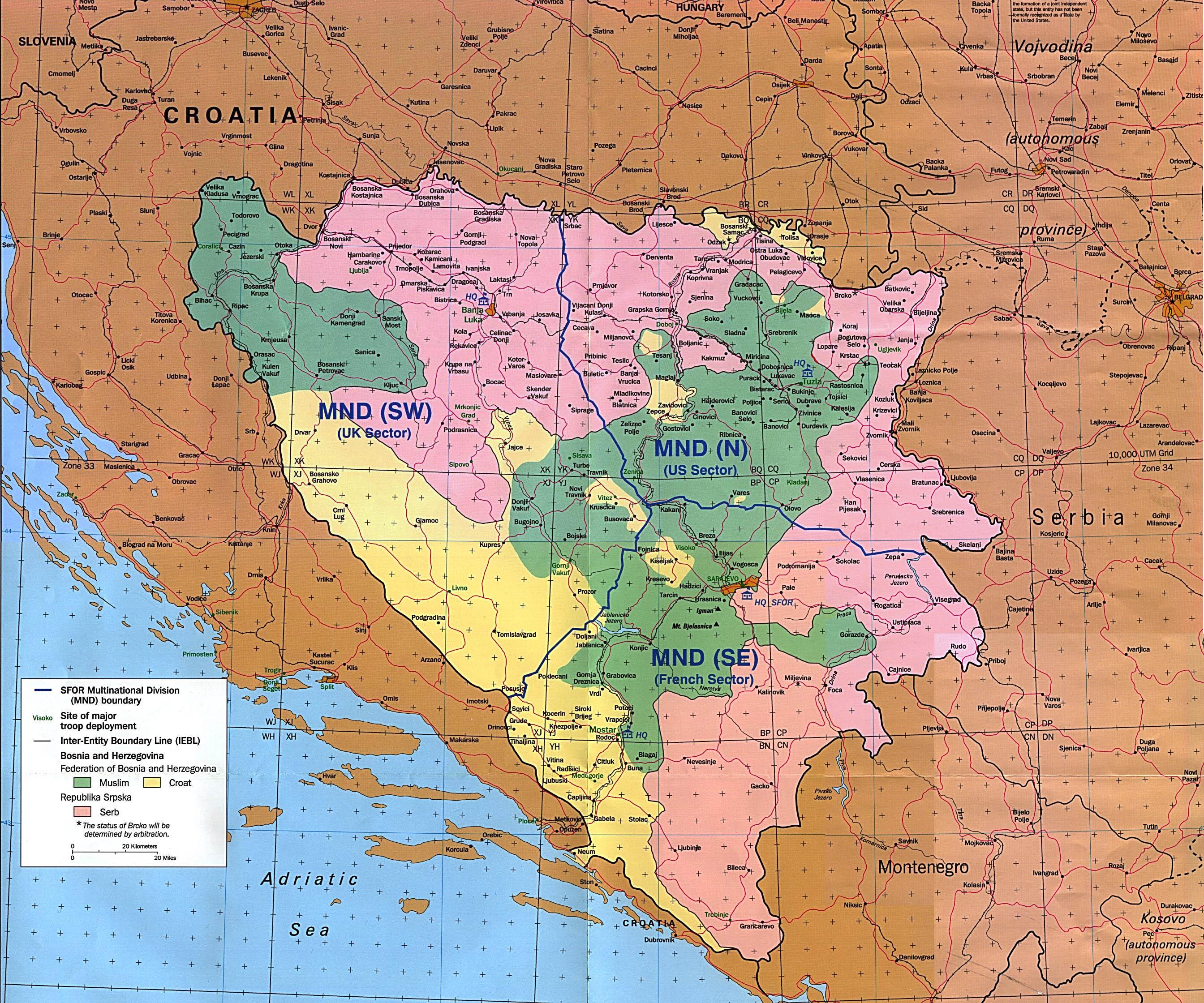 Mapa de las Áreas de Responsabilidad del SFOR, Bosnia y Herzegovina 1997