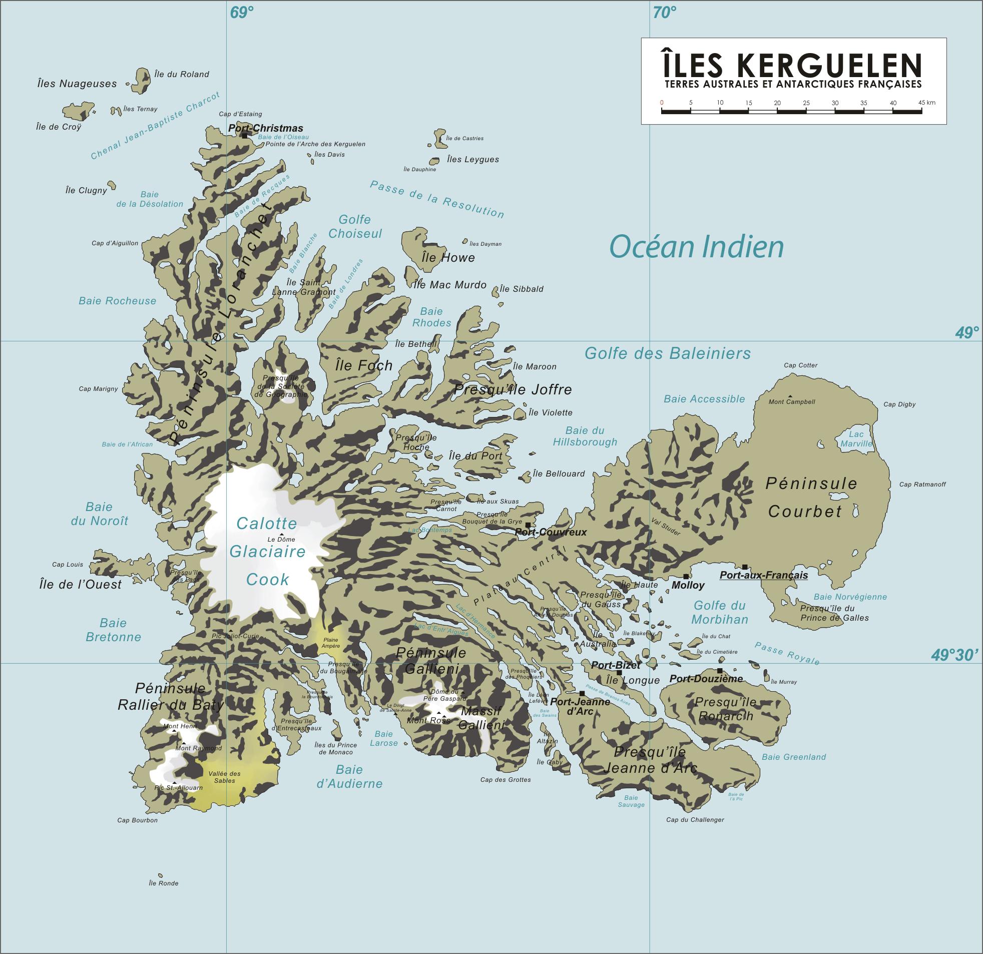 Mapa de las islas Kerguelen